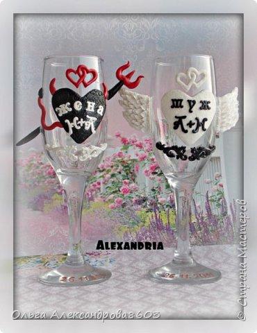 Декорировала бокалы для семейной пары,на годовщину свадьбы фото 1