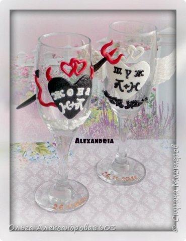 Декорировала бокалы для семейной пары,на годовщину свадьбы фото 4