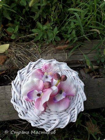 Добрый день! Сплелась корзинка для новорожденной девочки в подарок. Нежно розовая, для будущих бантов и девчачьих  штучек. фото 3