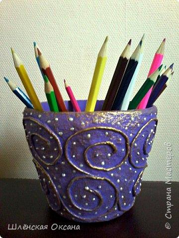 Доброго времени суток ,Страна Мастеров!Наваяла копилочку и карандашницу.Цвет ни как не могу передать,на самом деле они насыщено сиреневые,но на фото хотят казаться синенькими. фото 4