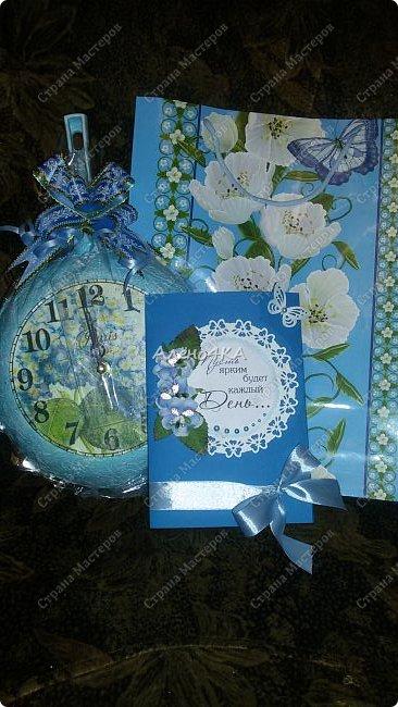 Такая сковородочка-часы получилась в голубых тонах (любимый цвет одариваемой) фото 1
