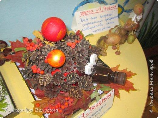 Ежик из шишек на выставке в садике. фото 1