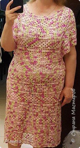 """Добрый всем день! Платье из микрофибры. Пряжа красивая, приятная на ощупь, но при ВТО тянучая. Крючки использовала №№ 3, 4 и 5. Идею позаимствовала у девочек из """"Страны мам"""". Спасибо им большое! фото 1"""