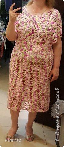 """Добрый всем день! Платье из микрофибры. Пряжа красивая, приятная на ощупь, но при ВТО тянучая. Крючки использовала №№ 3, 4 и 5. Идею позаимствовала у девочек из """"Страны мам"""". Спасибо им большое! фото 2"""