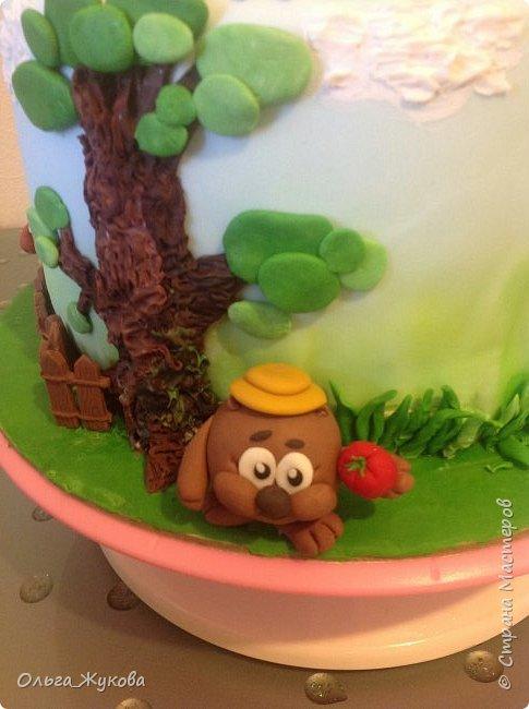 """Всем привет! Хочу показать детский тортик """"Смешарики""""! Цветов тут нет, но мне очень интересно было делать эту работу) я получила огромное удовольствие! Ведь этот тортик для моей младшей доченьки! фото 3"""