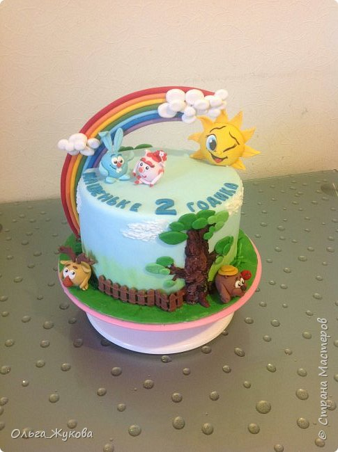 """Всем привет! Хочу показать детский тортик """"Смешарики""""! Цветов тут нет, но мне очень интересно было делать эту работу) я получила огромное удовольствие! Ведь этот тортик для моей младшей доченьки! фото 7"""