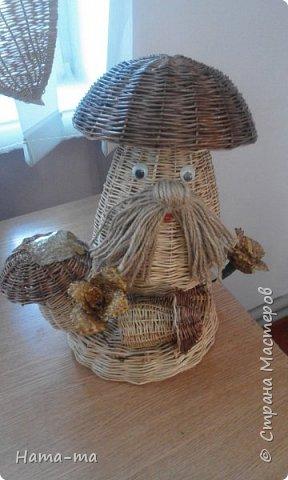 Изделия из ивы :грибная поляна , домик, снеговик. фото 1