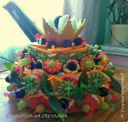 Фруктовый торт на день рождение очаровательной девушке. Ароматный и вкусный, чуть с ума не сошла от запахов. фото 1