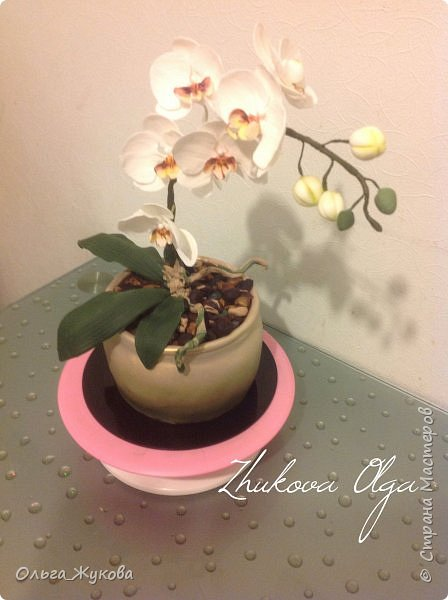"""Всем доброго времени суток! Моя работа- торт """" Орхидея в горшке"""". Тут все съедобное, кроме стебля орхидеи (она из проволоки, обмотанной тейп-лентой))) фото 1"""