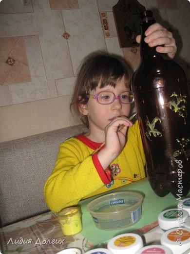 """Вот такую вазу с цветами Анюта почти самостоятельно сделала для конкурса """" Мусору-вторую жизнь"""" фото 5"""