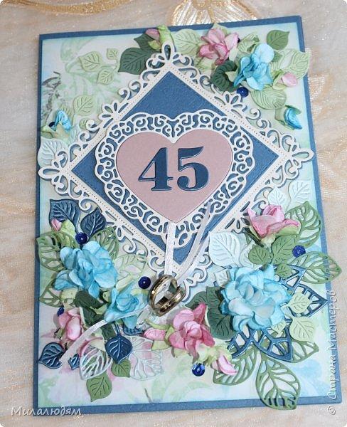 Всем здравствуйте! Вызвалась я сделать открытку на Сапфировую свадьбу, 45 лет совместной жизни. Сапфир синий камень, вот и больше сине-голубых тонов. фото 1