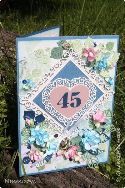 Всем здравствуйте! Вызвалась я сделать открытку на Сапфировую свадьбу, 45 лет совместной жизни. Сапфир синий камень, вот и больше сине-голубых тонов. фото 4