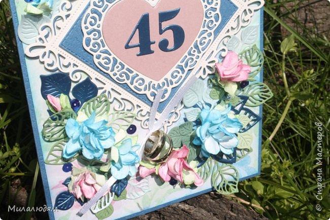 Всем здравствуйте! Вызвалась я сделать открытку на Сапфировую свадьбу, 45 лет совместной жизни. Сапфир синий камень, вот и больше сине-голубых тонов. фото 6