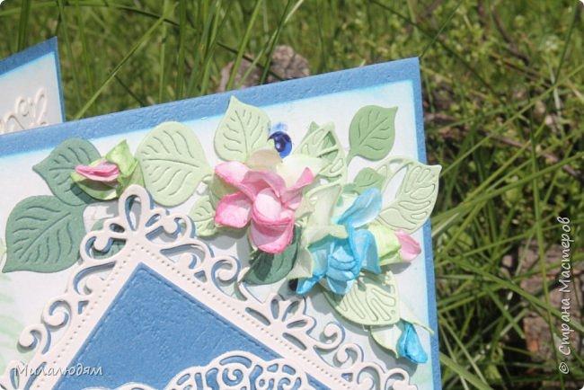Всем здравствуйте! Вызвалась я сделать открытку на Сапфировую свадьбу, 45 лет совместной жизни. Сапфир синий камень, вот и больше сине-голубых тонов. фото 7