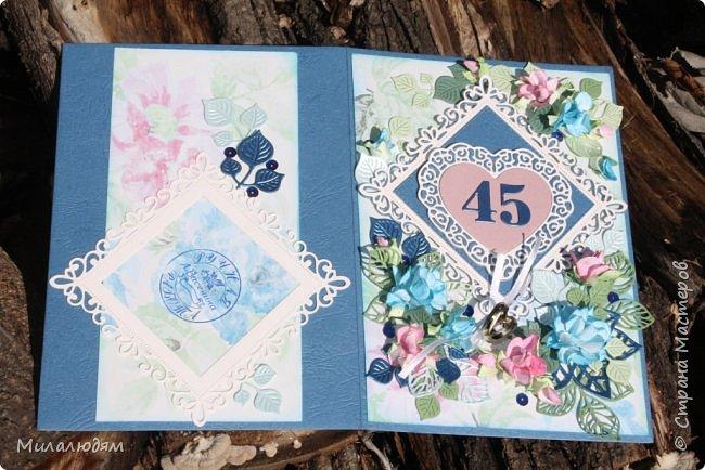Всем здравствуйте! Вызвалась я сделать открытку на Сапфировую свадьбу, 45 лет совместной жизни. Сапфир синий камень, вот и больше сине-голубых тонов. фото 8