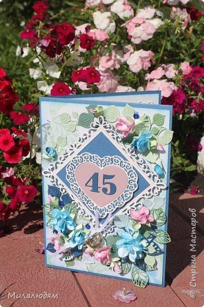 Всем здравствуйте! Вызвалась я сделать открытку на Сапфировую свадьбу, 45 лет совместной жизни. Сапфир синий камень, вот и больше сине-голубых тонов. фото 25