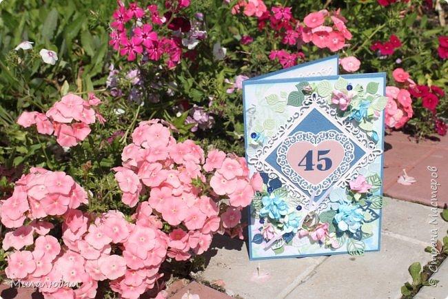 Всем здравствуйте! Вызвалась я сделать открытку на Сапфировую свадьбу, 45 лет совместной жизни. Сапфир синий камень, вот и больше сине-голубых тонов. фото 27