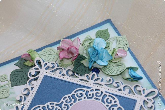 Всем здравствуйте! Вызвалась я сделать открытку на Сапфировую свадьбу, 45 лет совместной жизни. Сапфир синий камень, вот и больше сине-голубых тонов. фото 9