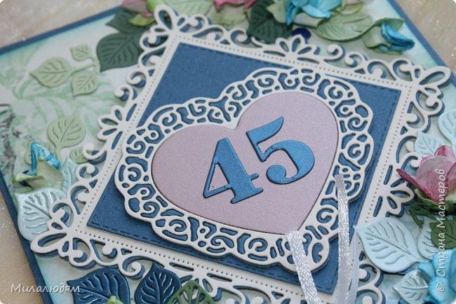 Всем здравствуйте! Вызвалась я сделать открытку на Сапфировую свадьбу, 45 лет совместной жизни. Сапфир синий камень, вот и больше сине-голубых тонов. фото 10