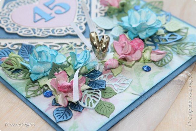 Всем здравствуйте! Вызвалась я сделать открытку на Сапфировую свадьбу, 45 лет совместной жизни. Сапфир синий камень, вот и больше сине-голубых тонов. фото 12