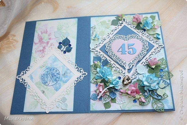 Всем здравствуйте! Вызвалась я сделать открытку на Сапфировую свадьбу, 45 лет совместной жизни. Сапфир синий камень, вот и больше сине-голубых тонов. фото 21