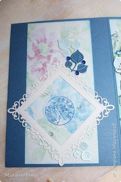 Всем здравствуйте! Вызвалась я сделать открытку на Сапфировую свадьбу, 45 лет совместной жизни. Сапфир синий камень, вот и больше сине-голубых тонов. фото 22
