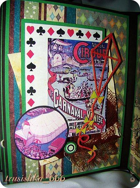 """Всем привет!  Продолжаю творить со всем усердием пока отпуск, сегодня альбомчик на тему """"старый цирк"""". Немного карнавала не помешает:)) Альбомчик опять мини формата, размер 11х15 см. Особо писать то и нечего, фотографий много. Смотрим... фото 23"""