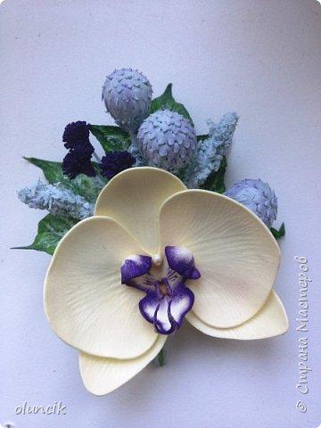 Комплект с цветами Орхидея Фалеонопсис, ягодками Брунии и цветочками Гипсофилы. Вот такая сиреневая мечта была у девушки Елены.  фото 9