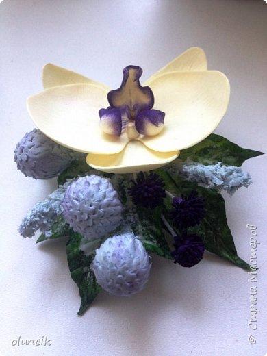Комплект с цветами Орхидея Фалеонопсис, ягодками Брунии и цветочками Гипсофилы. Вот такая сиреневая мечта была у девушки Елены.  фото 11
