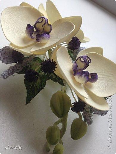 Комплект с цветами Орхидея Фалеонопсис, ягодками Брунии и цветочками Гипсофилы. Вот такая сиреневая мечта была у девушки Елены.  фото 3