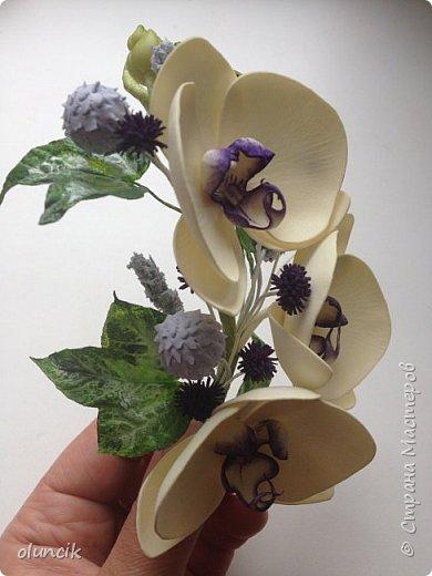 Комплект с цветами Орхидея Фалеонопсис, ягодками Брунии и цветочками Гипсофилы. Вот такая сиреневая мечта была у девушки Елены.  фото 4
