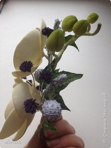 Комплект с цветами Орхидея Фалеонопсис, ягодками Брунии и цветочками Гипсофилы. Вот такая сиреневая мечта была у девушки Елены.  фото 5