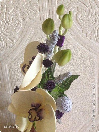 Комплект с цветами Орхидея Фалеонопсис, ягодками Брунии и цветочками Гипсофилы. Вот такая сиреневая мечта была у девушки Елены.  фото 6