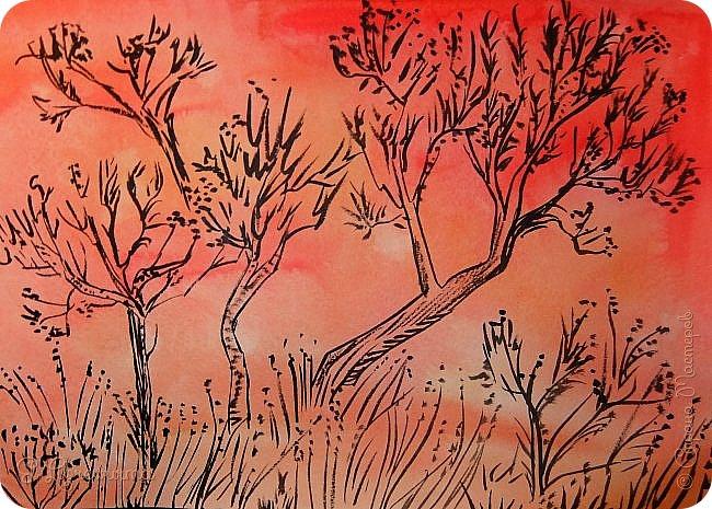 Тушевые деревца и ковыль на пёстрой акварельной отмывке. Это вольная подделка под краем глаза виденный батик. фото 1