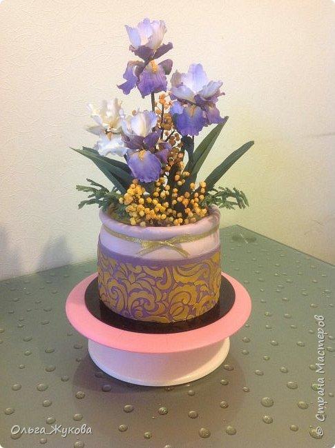 """Всем доброго времени суток) мой торт """"Ирисы в горшке"""") Что можно сказать... Я влюбилась в сахарные ирисы)) Делать их было захватывающе! Самое удивительное в сахарных цветах то, что глядя на кусочек мастики и на готовый цветок, сама не веришь, что это возможно! Как оказалось- возможно))) фото 1"""