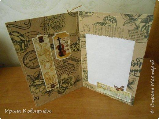 Пришла мне идея декорировать открытки тканью и прострочить. Вот. что получилось... фото 3