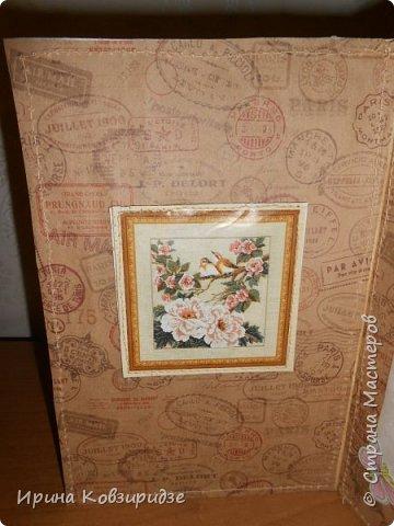 Пришла мне идея декорировать открытки тканью и прострочить. Вот. что получилось... фото 9