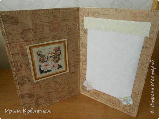 Пришла мне идея декорировать открытки тканью и прострочить. Вот. что получилось... фото 8