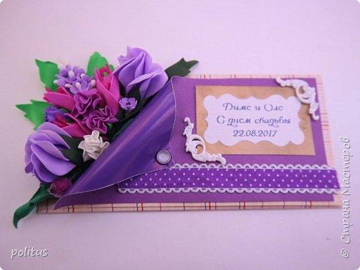 Решила сделать конвертик для денег на свадьбу друзей сама, поискала идеи в инете  и решила, что есть отличное применение цветочкам, которые не попали в ободки. фото 8