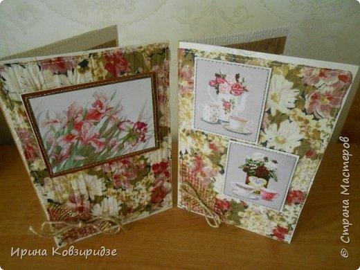 Предлагаю вашему вниманию 2 следующие открытки , декорированные тканью. фото 1