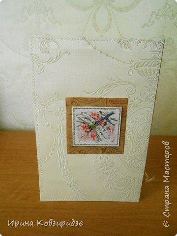 Предлагаю вашему вниманию 2 следующие открытки , декорированные тканью. фото 8