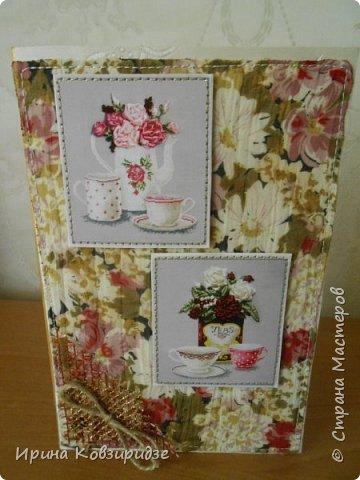 Предлагаю вашему вниманию 2 следующие открытки , декорированные тканью. фото 9