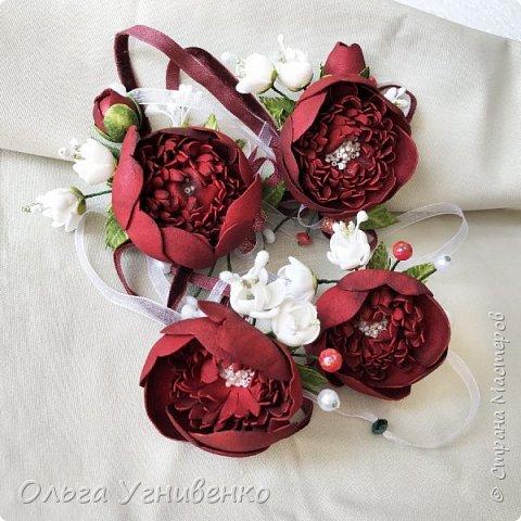 Приветствую всех жителей и гостей прекрасной СТРАНЫ МАСТЕРОВ!! Представляю Вам браслеты и кольца для подружек невесты (заказ). Цветы выполнены из фома, украшены бисером, бусинами и ленточками. фото 10