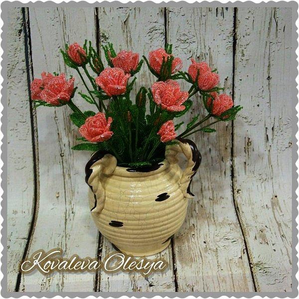 Кустовая роза из бисерв фото 2