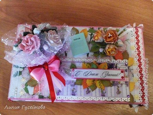 Скоро 1 сентября, решили в этом году подарить нашей учительнице коробку конфет merci. Взяли большую. Долго думали как оформить. Вот что получилось. фото 11