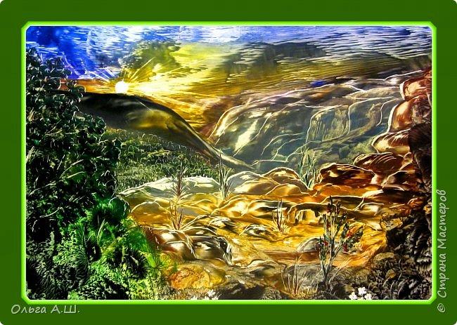 """И опять классические пейзажи утюгом.  """"Восход в горах"""". А3 фото 1"""