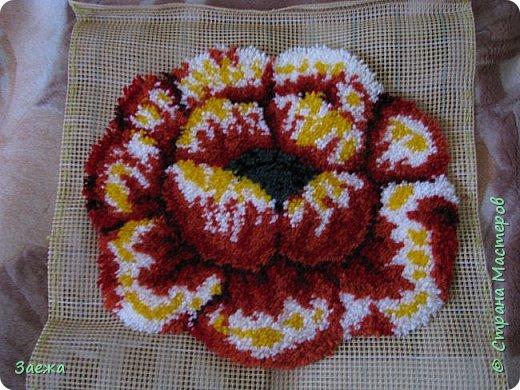 Коврик сделан из ниток для вязания, с помощью крючка для ковровой вышивки. фото 17