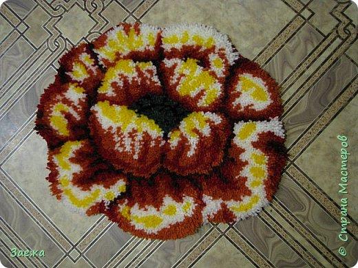 Коврик сделан из ниток для вязания, с помощью крючка для ковровой вышивки. фото 23