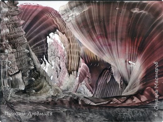 """Извержение вулкана"",  Ф.А.4, картон, утюг, воск,техника - Энкаустика фото 1"
