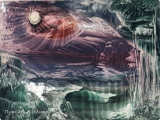 """Извержение вулкана"",  Ф.А.4, картон, утюг, воск,техника - Энкаустика фото 3"
